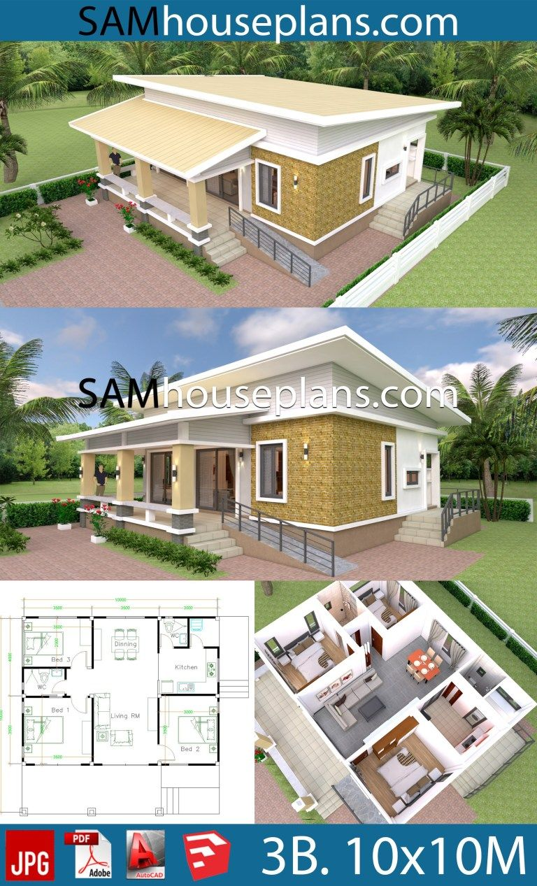 10x10 Bedroom Arrangement: House Plans 10x10 With 3 Bedrooms Full Interior (With