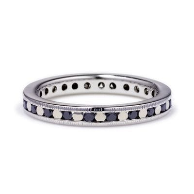 Black Diamonds set between White Gold Beads in an White Gold Eternity Band | Anna Sheffield Jewelry