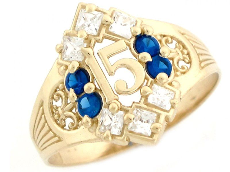 10k Yellow Gold Simulated Sapphire Birthstone Beautiful ...