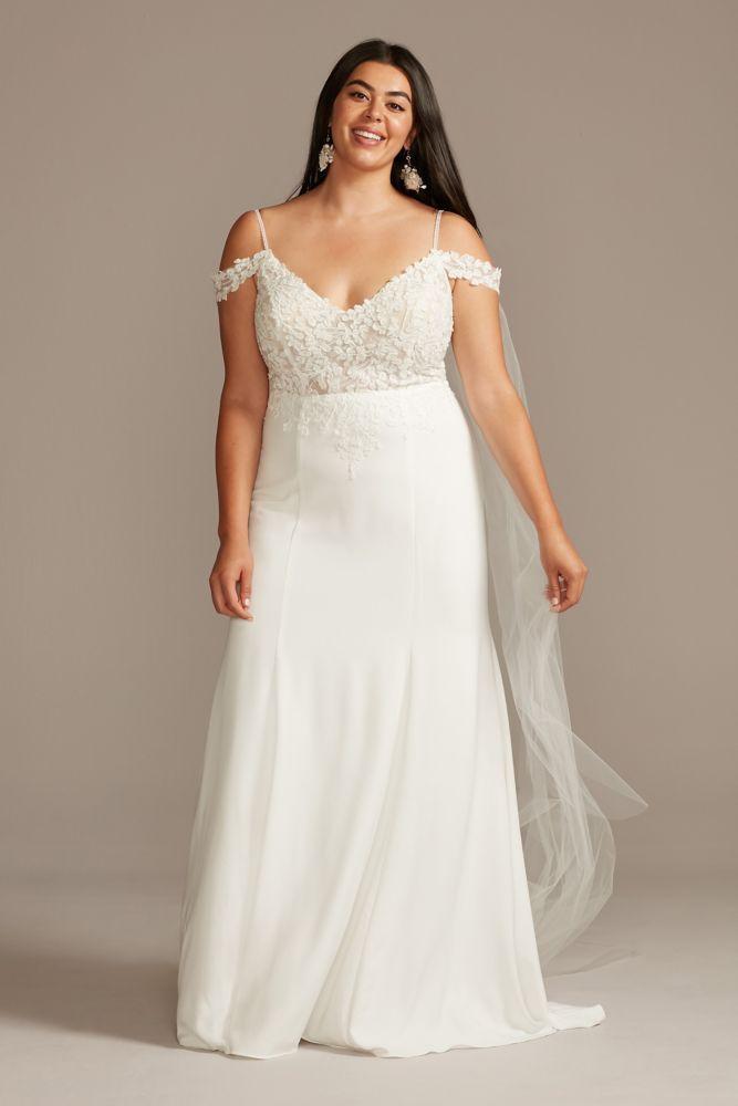 Floral Applique Bodice Plus Size Wedding Dress Style ...