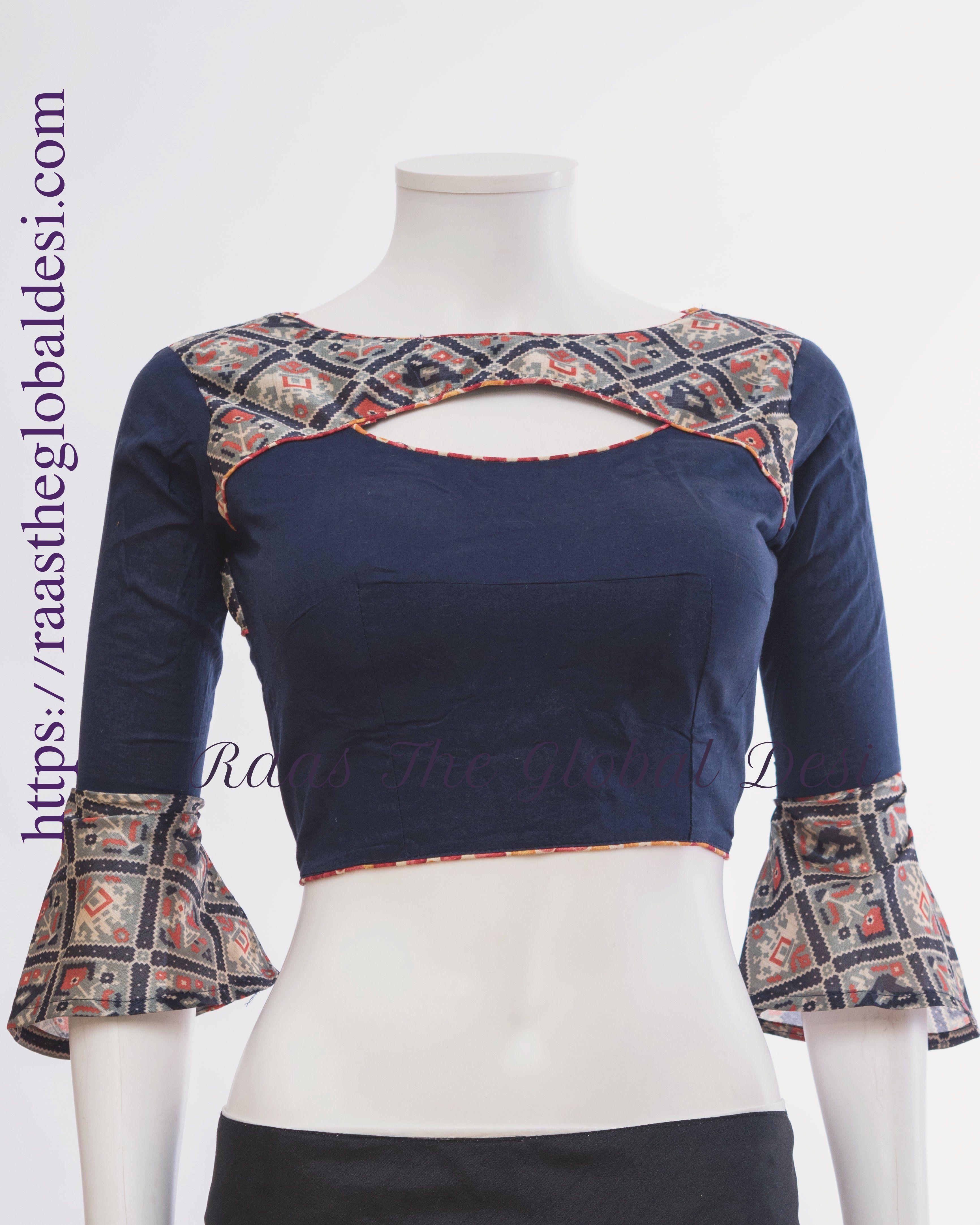 Saree sari India top stitch choli party fancy blouse ready chain top zip sleeve