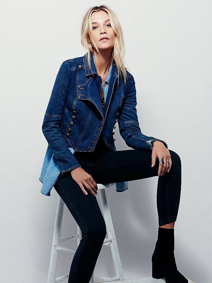 Denim Military Band Jacket | Military inspired denim jacket featuring exposed buttons with royal etched accents and side pockets.  Slightly stretchy fit.