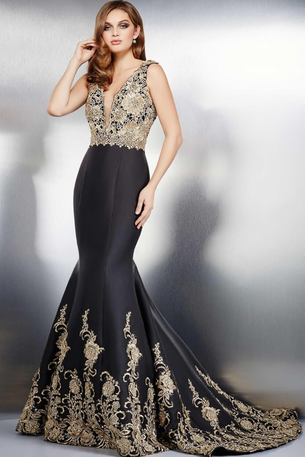 The gold applique details on #Jovani 31212 are simply ...