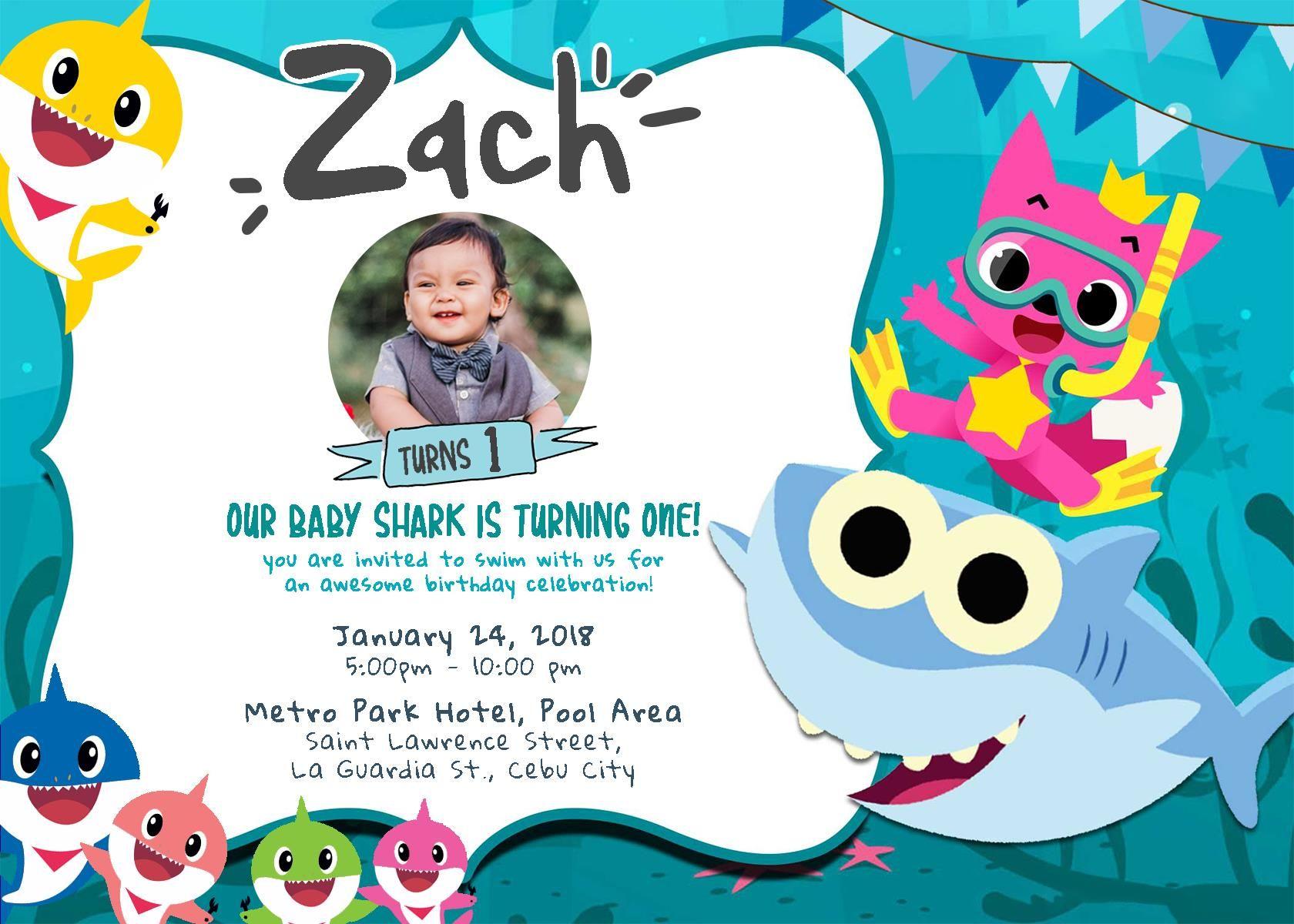 Baby Shark Invitation Shark birthday invitations, Baby