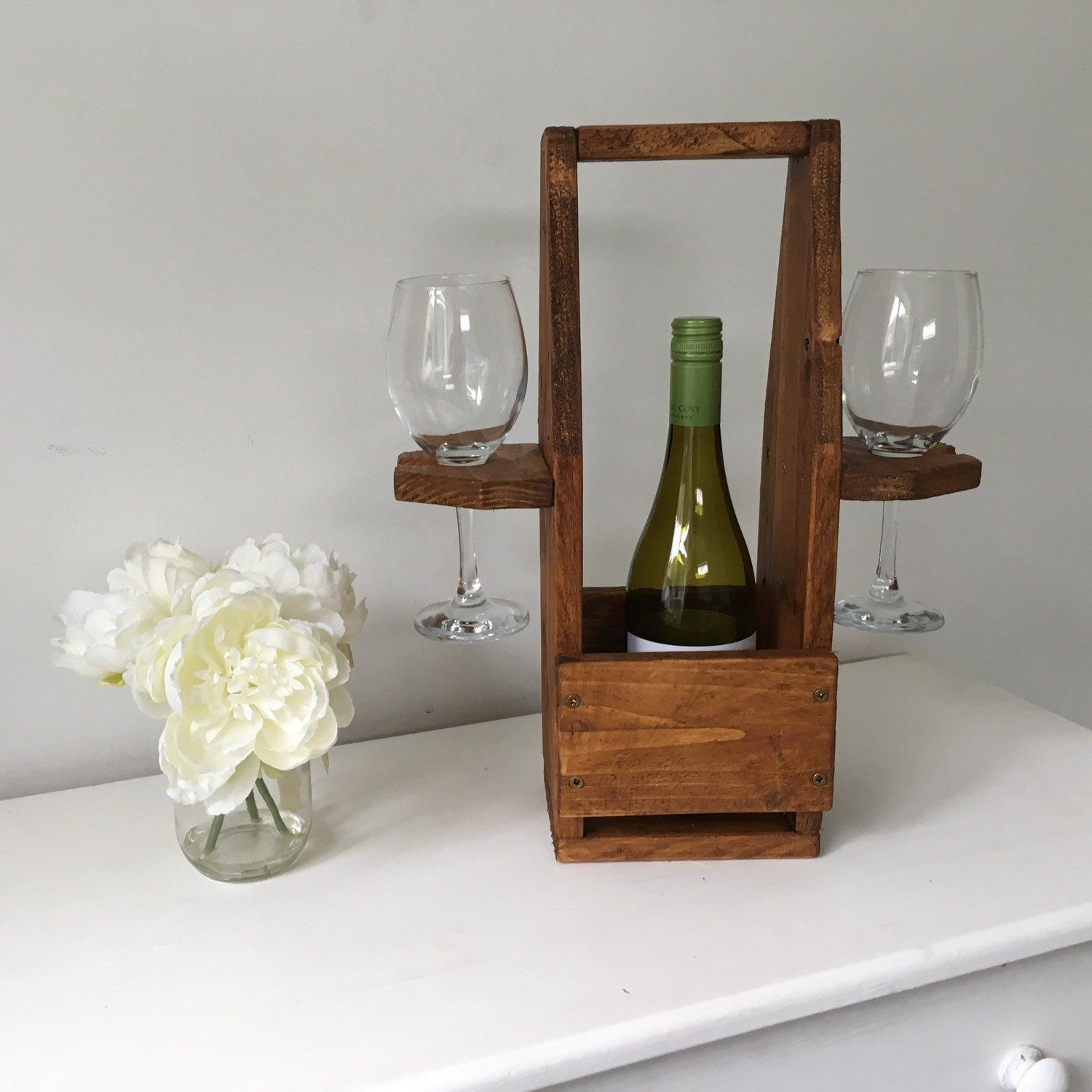 Countertop Wine Glass Holder Rustic Wine Bottle Holder In 2019 Wood And Wine