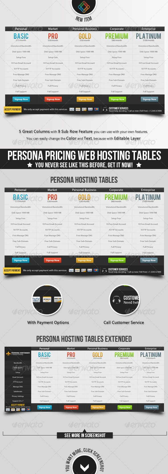 Persona Pricing Web Hosting Tables | Template, Pricing table and Fonts