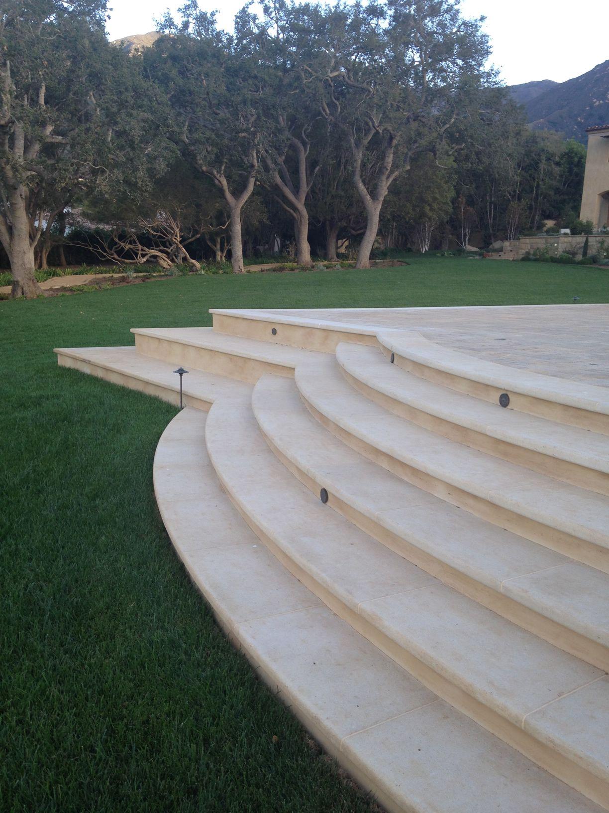 Kansas limestone, custom fabricated stair treads, Montecito CA.