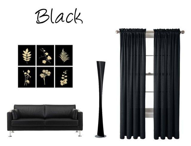 """Black"" by lillieshade on Polyvore featuring interior, interiors, interior design, home, home decor, interior decorating, Vitra, FontanaArte and Royal Velvet"