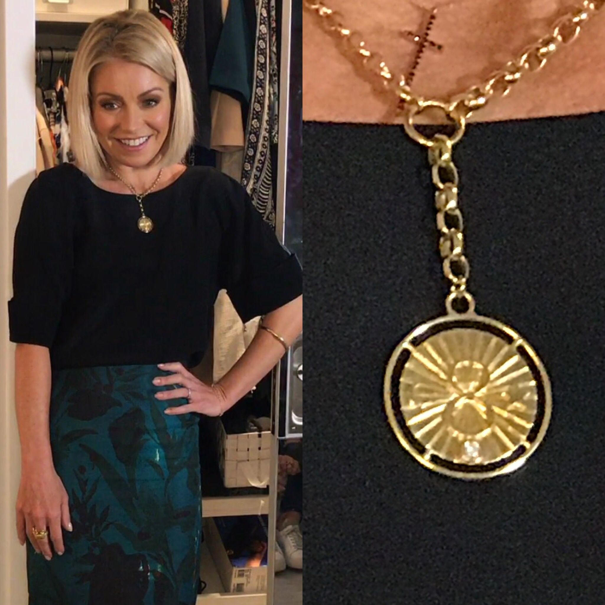 Kelly Ripa's Suite 1521 Foundrae Gold Karma Necklace. Live