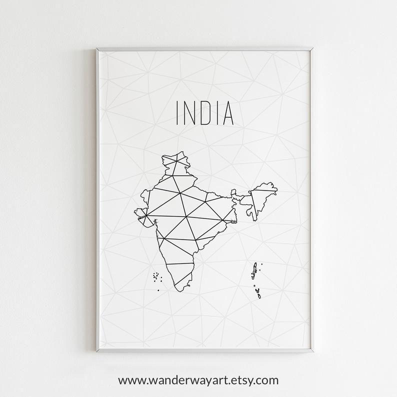 India Art India Map India Print India Decor India Wall Etsy Map Wall Art India Map India Decor