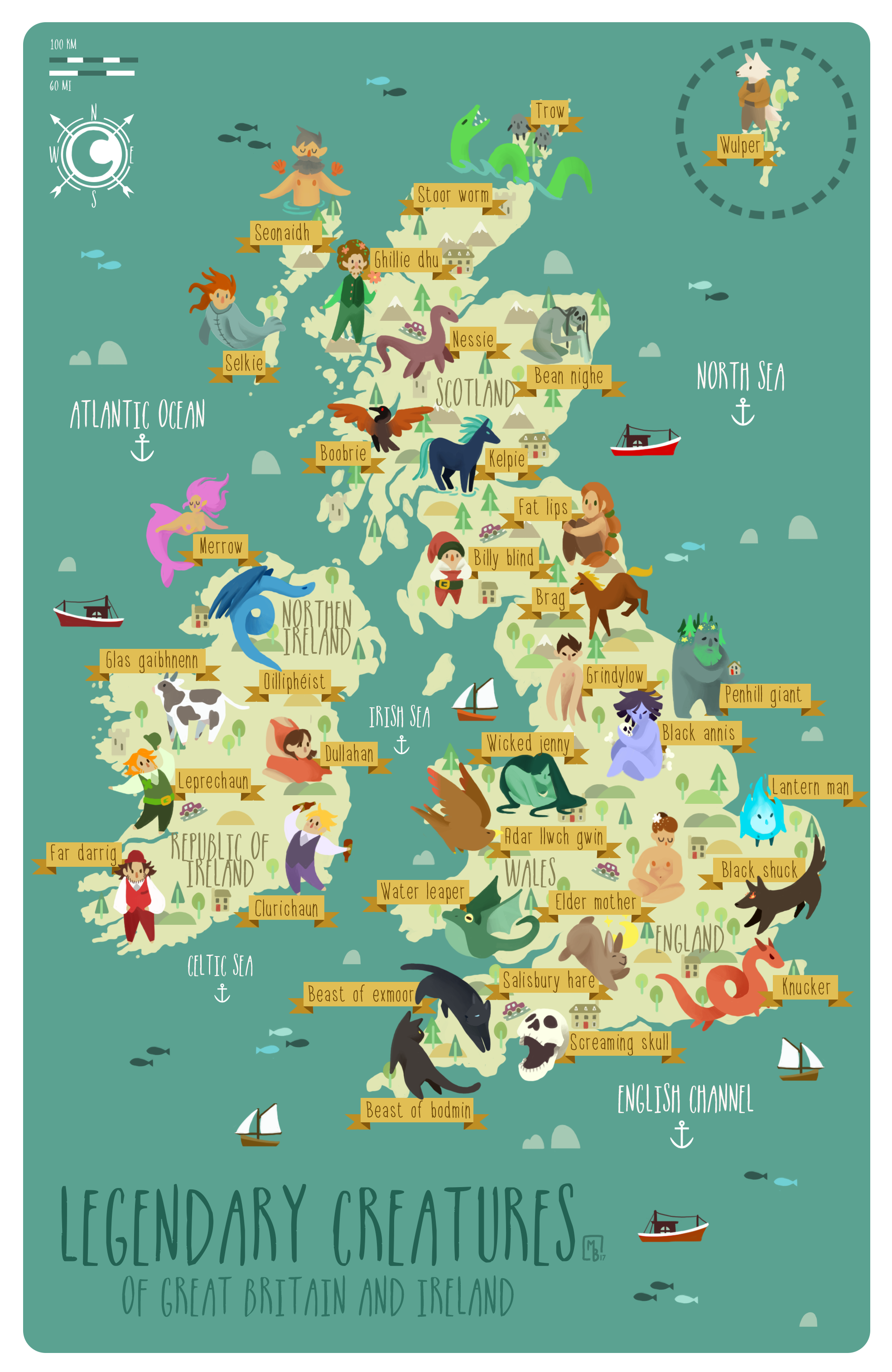 Legendary Creatures Of Great Britain And Ireland Legendary Creatures Of Great Britain And Ireland Asiatrave In 2020 Illustrated Map Great Britain Map Of Britain
