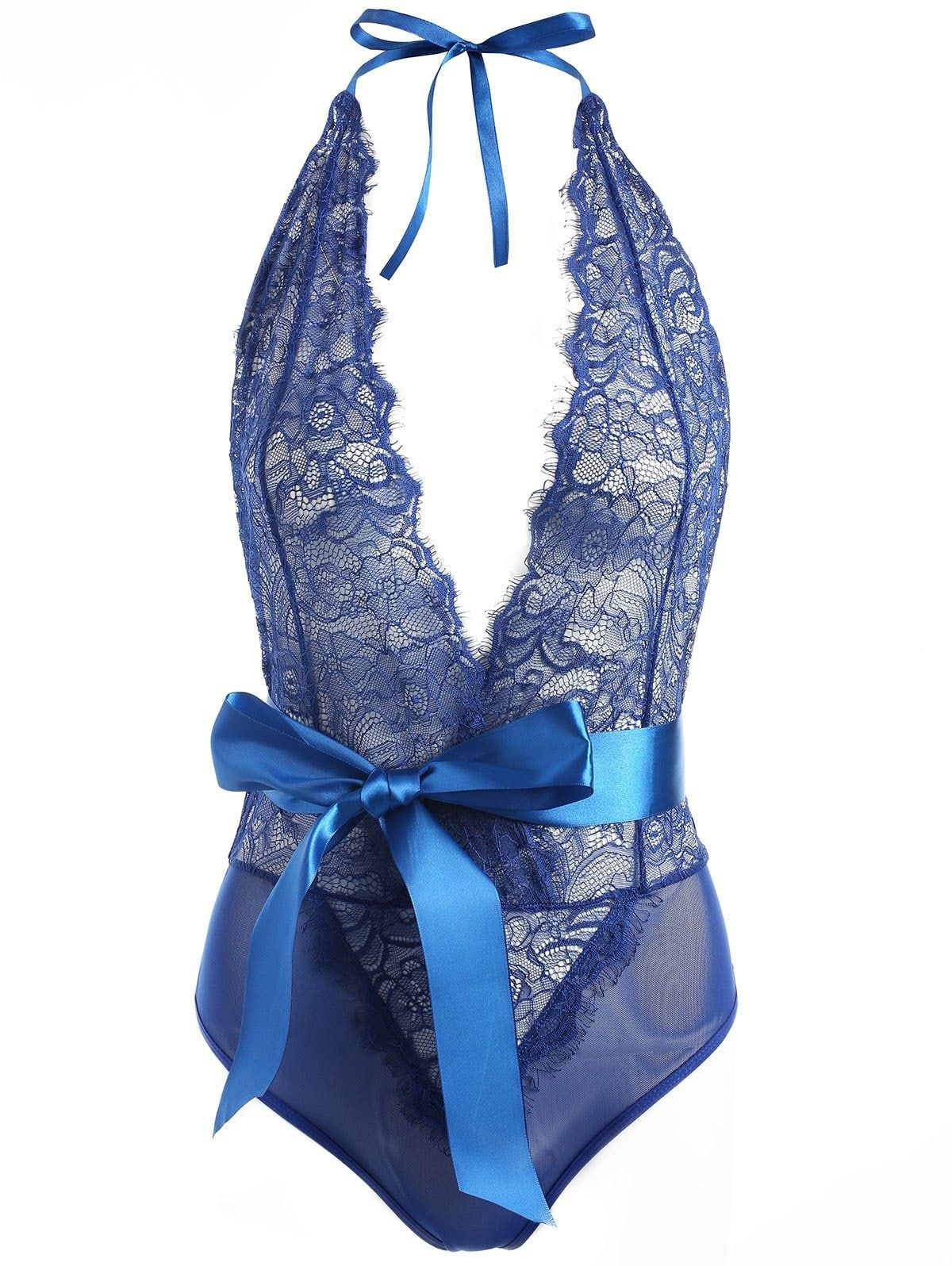 8d08092ac89b3 Lace Plunge Belted Sheer Teddy - BLUE M | Projects to Try | Teddy ...