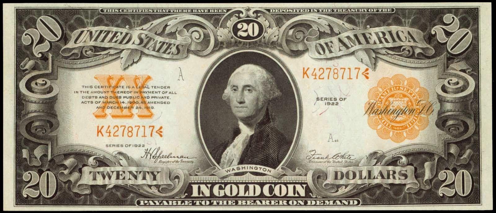 Paper Money of the United States: Twenty Dollar Gold Certificate, Series of 1922, George Washington