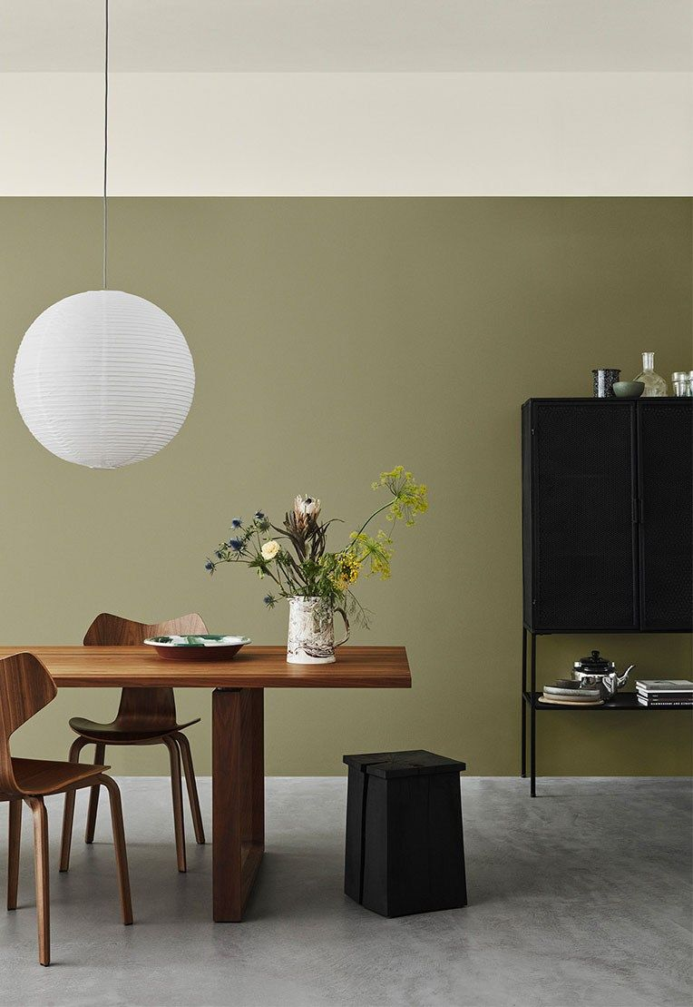 Pin Op Soft Green Interiors #olive #green #and #brown #living #room