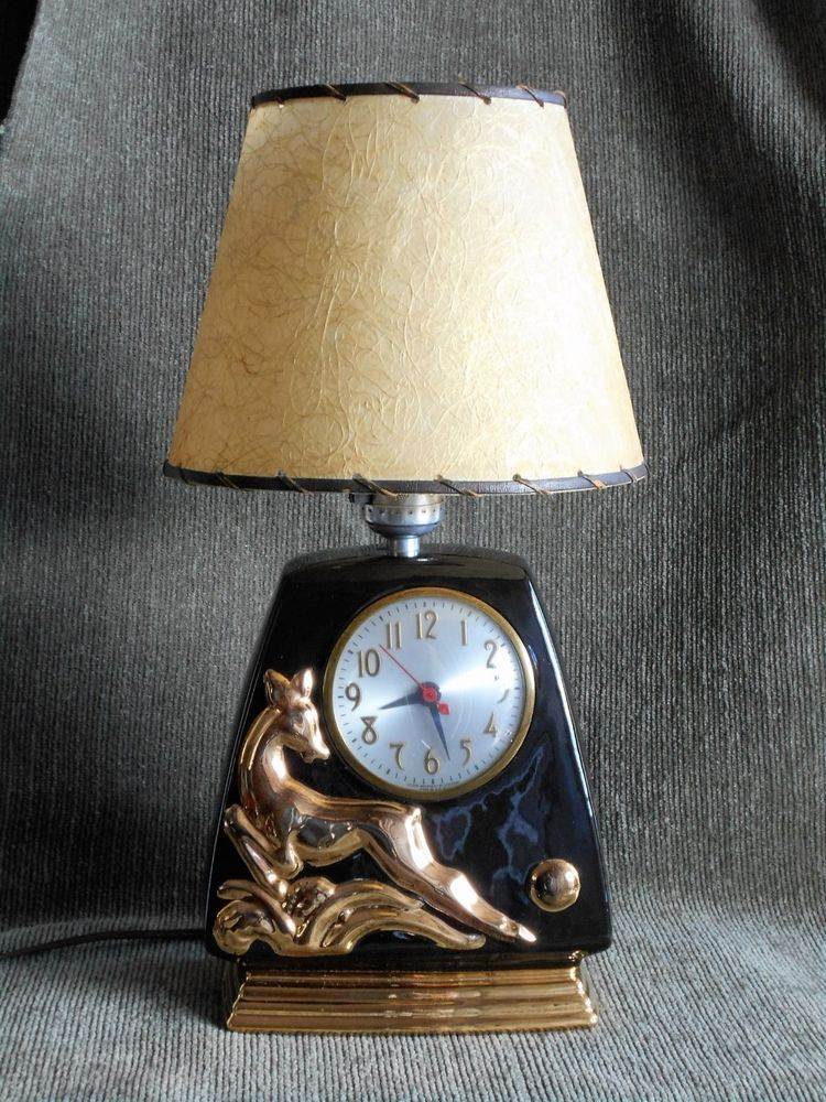 Mid century tv lamp with sessions clock and fiberglass shade works mid century tv lamp with sessions clock and fiberglass shade works very well aloadofball Gallery