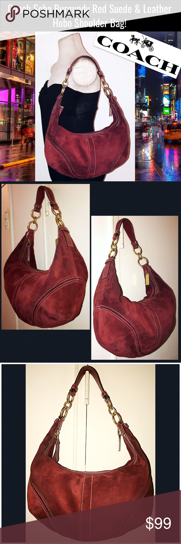 Coach Soho Burgundy Red Suede   Leather Hobo Bag! Coach Soho Burgundy Red  Suede   e3c7d1d541