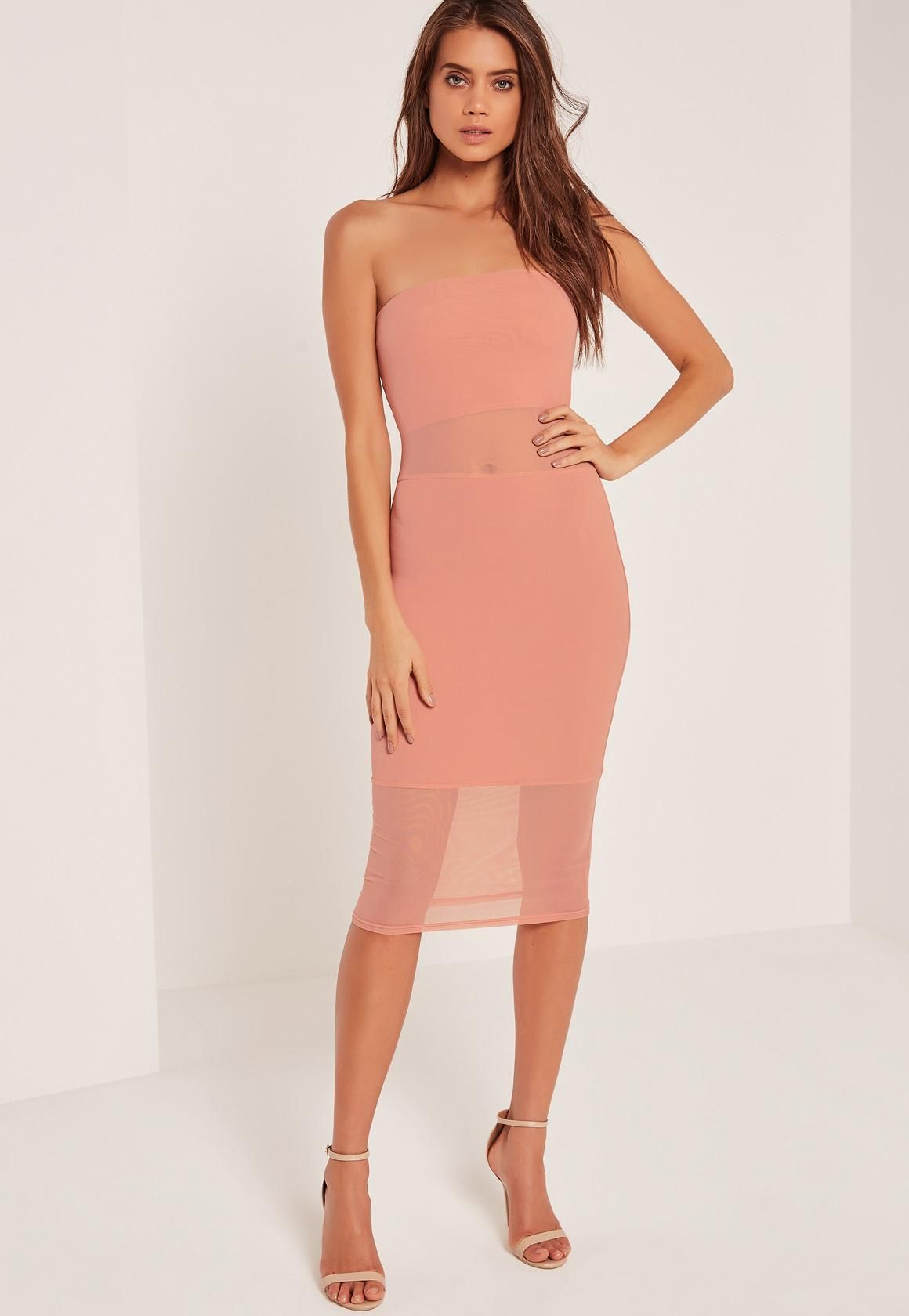 Missguided - Bandeau Mesh Panel Midi Dress Pink | Missguided ...