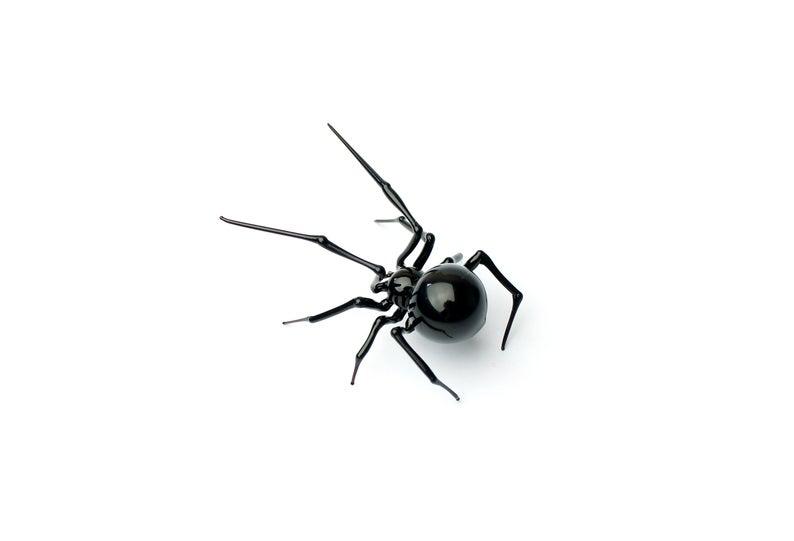Art Glass Black Widow Figurine Blown Glass Spider Hand Etsy Hand Blown Glasses Spider Glass Art