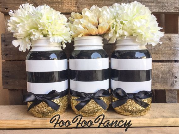 Black white and gold mason jar centerpieces party by