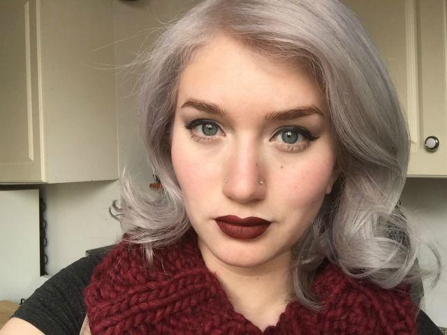 Samantha Escobar gray hair double nose piercings The Gloss | Manes ...