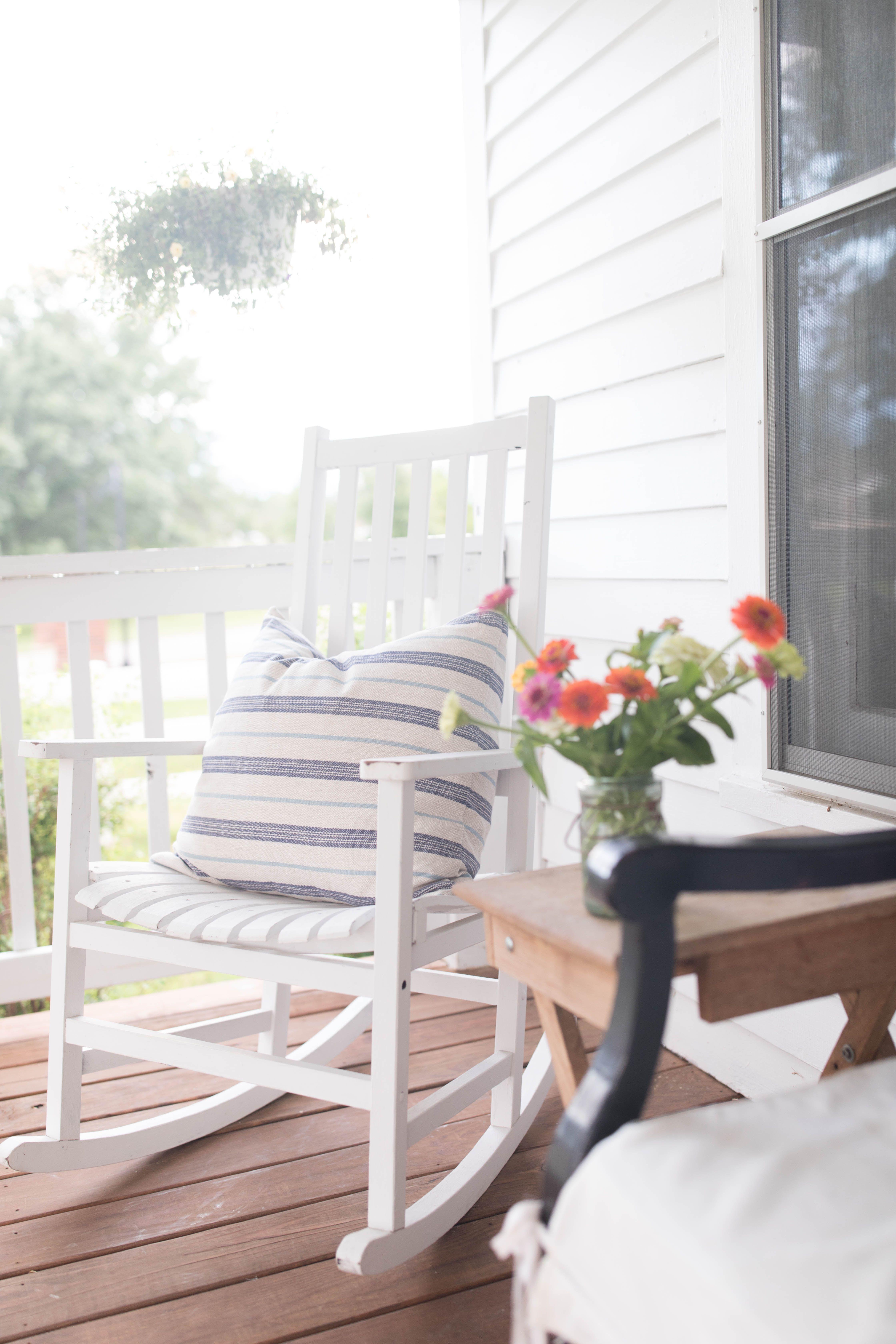 Superb White Rocking Chair With Blue Striped Pillow On Porch 5 Creativecarmelina Interior Chair Design Creativecarmelinacom