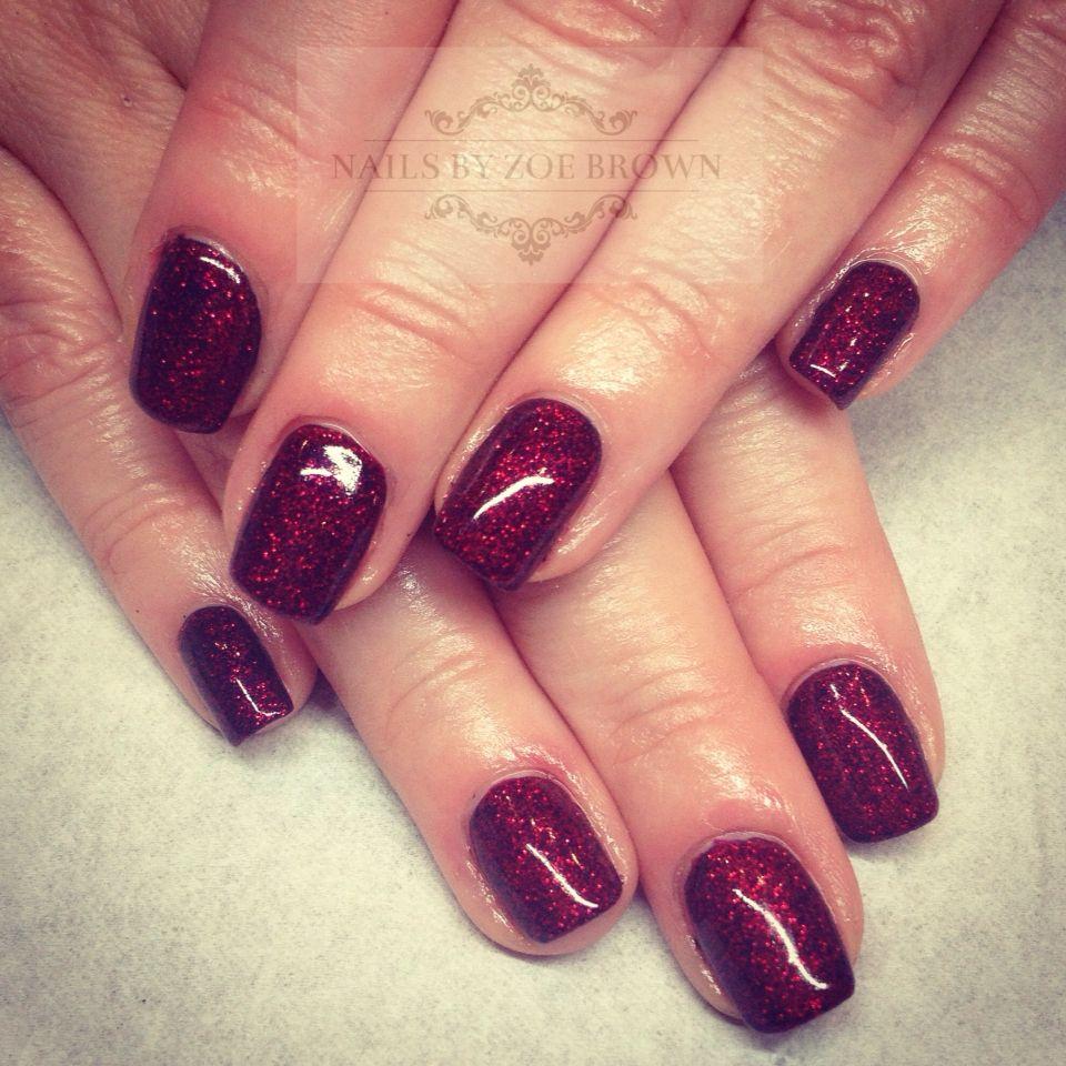 Dark red sparkly shellac nails | Nails | Pinterest | Shellac nails ...