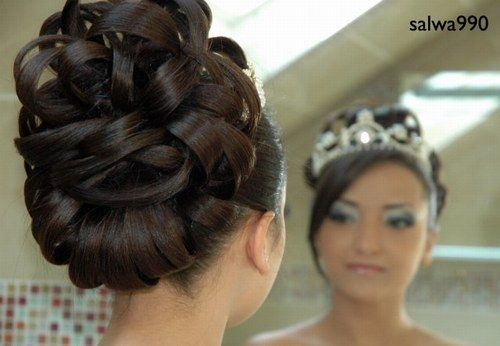 Hair For The Bride Is Typically Very Elaborate And Serves As A Backdrop For The Crowns Which Are Changed On Average Three Times Dur Hair Hair Styles Hair Updos