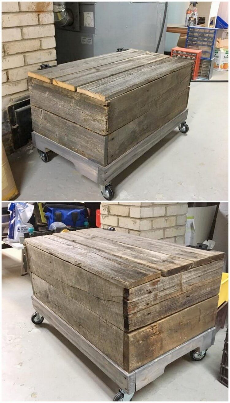 A treasure like wood pallet storage box piece is introduced in this image for you which can best change the whole look of the house at the best means. & Change Look Of Your House with Stylish Pallet Furnishings | Pallet ...
