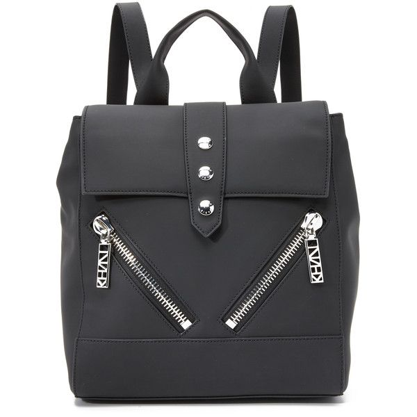 KENZO Kalifornia Backpack ($675) ❤ liked on Polyvore featuring bags, backpacks, black, leather backpack, leather daypack, leather bags, leather studded backpack and black flap backpack