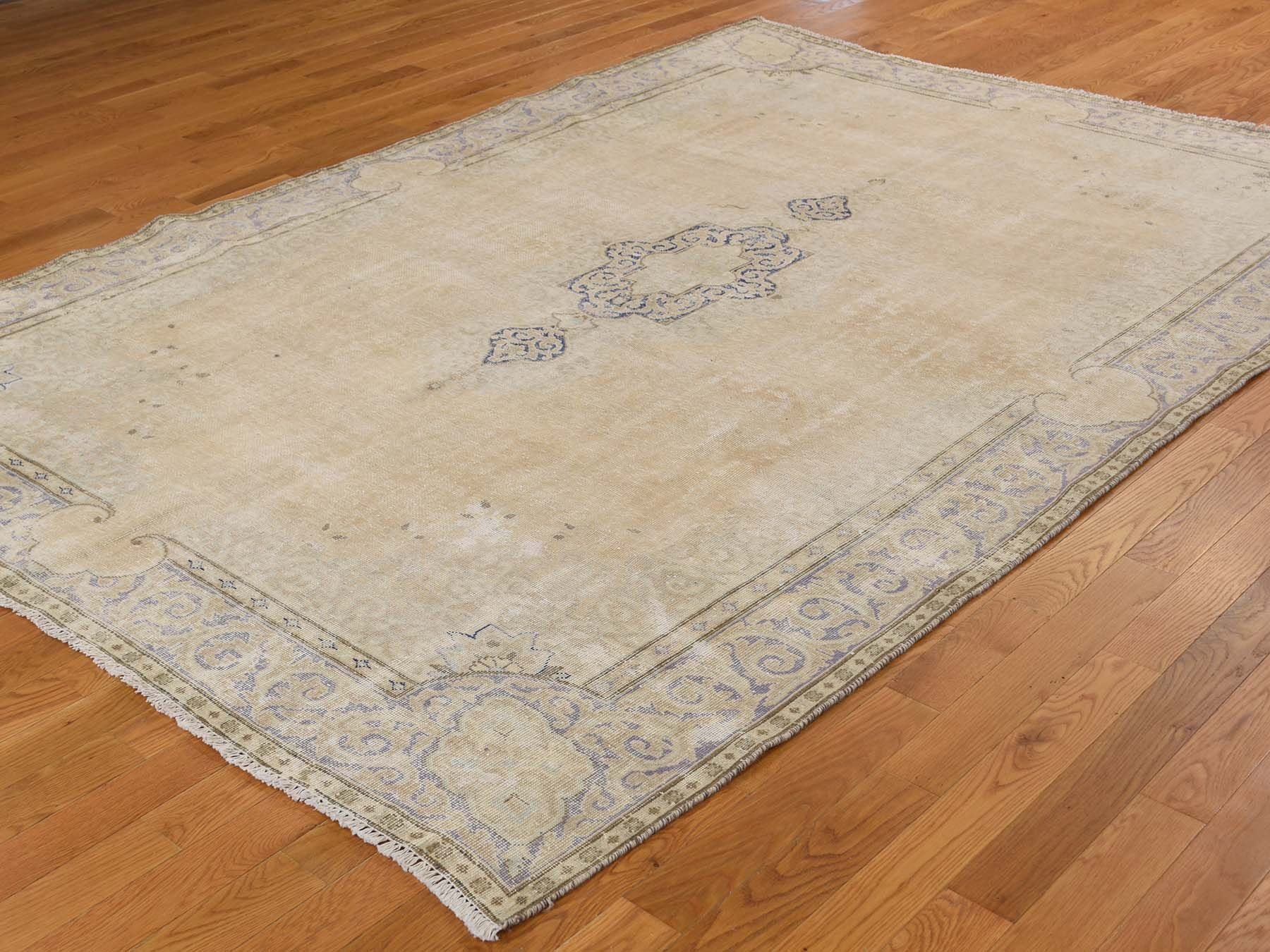 6 7 X9 4 Vintage White Wash Kerman Hand Knotted Pure Wool Persian