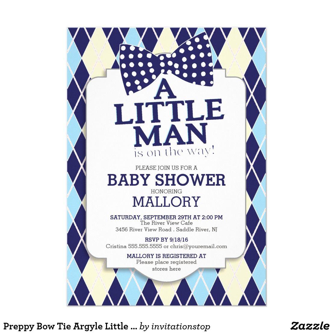 Printable Birthday Party Invitation Card Detroit Lions: Preppy Bow Tie Argyle Little Man Boys Baby Shower
