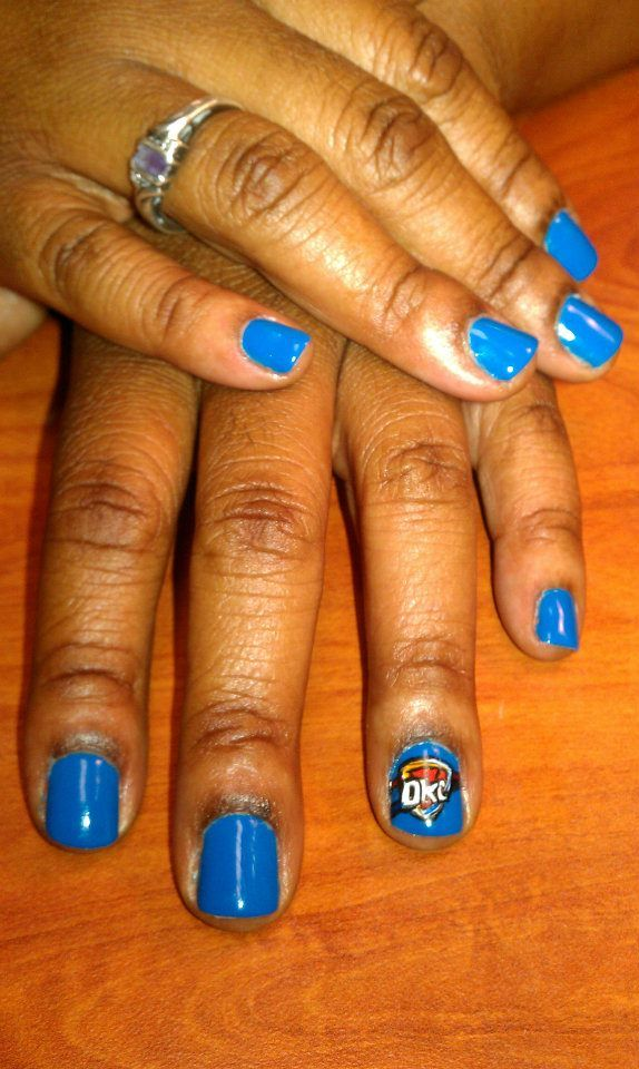 Okc Thunder Nail Art By Amie Gills Nails By Amie Gills Pinterest