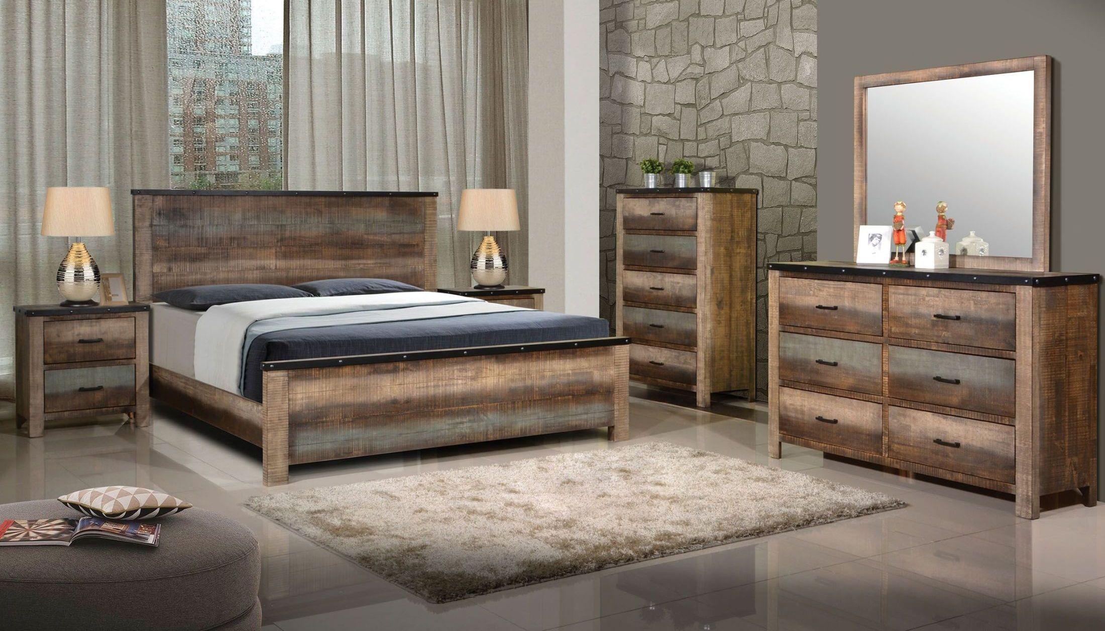 Sembene Urban Coastal Rustic Solid Wood Bedroom Set