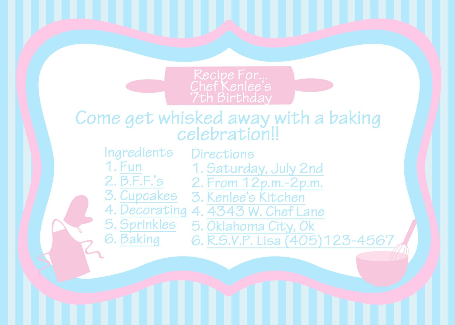 BAKING Party Invitation - PRINTABLE Custom Birthday Invitation and ...