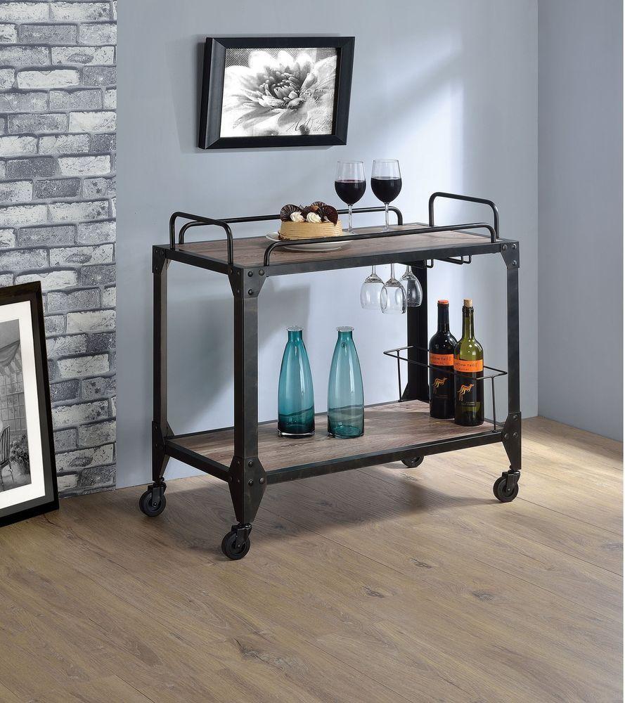Modern Rustic Industrial Country Portable Kitchen Cart: Kitchen Serving Cart Rustic Industrial Black Metal Oak
