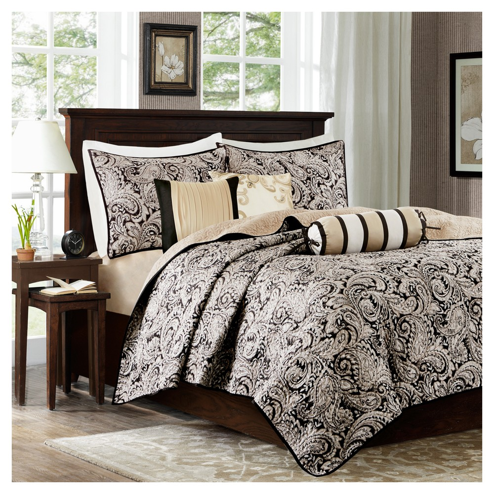 Best Black Gold Wellington Jacquard Quilt Set King California King 6Pc Luxury Comforter Sets 640 x 480