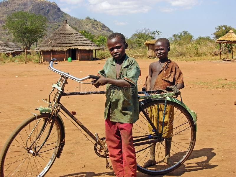 Poor African Children With Old Bicycle Remote Village Africa This