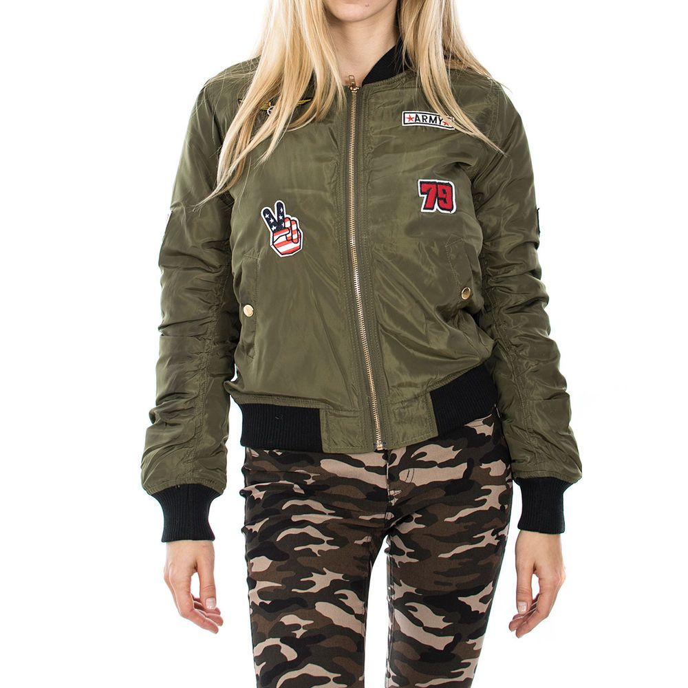 Women's American Pilot Patch Bomber Jacket In Olive