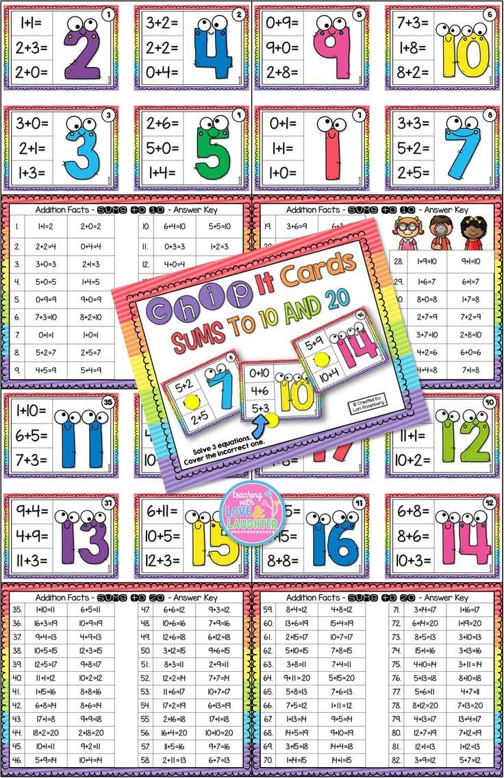 Chip it cards are a fun and engaging, hands-on way, to help students develop, master, and review addition fluency, with sums to 10 and 20. Just leave these cards in your math station, along with chips, counting bears, or any of your small manipulatives. Each card contains three equations to solve. Two of them equal the sum on the card and one does not. Students cover the incorrect equation and check their answer with the answer key.