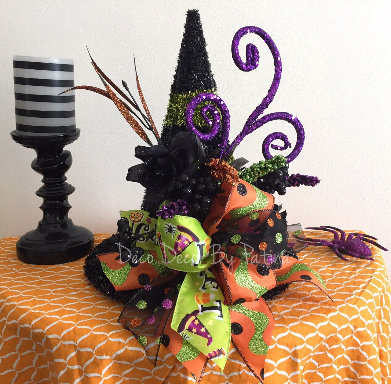 witch centerpiece witch hat floral arrangement witch hat centerpiece halloween centerpiece halloween - Halloween Centerpieces