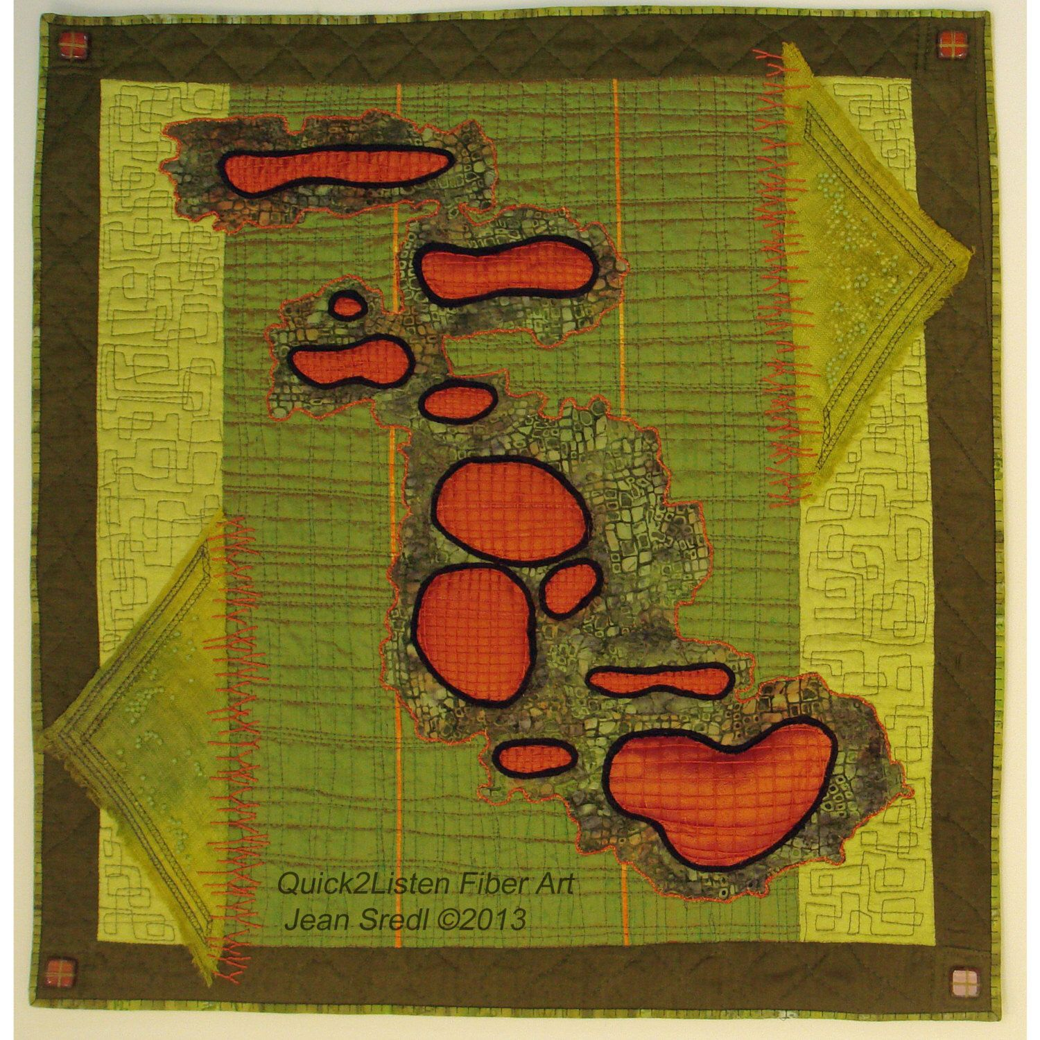 Silk Collage Art Quilt Tangerine and Chartreuse wall hanging, hand ...