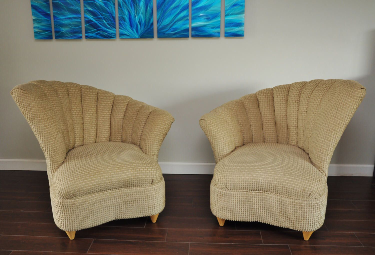 Pair Asymmetric Art Deco Style Channel Back Shell Barrel Chairs Mirrored- Nice! by FunFloridaFinds on Etsy https://www.etsy.com/listing/506779128/pair-asymmetric-art-deco-style-channel