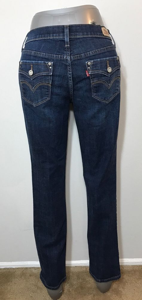 Levis Womens Size 4m Jeans 505 Straight Leg Dark Distressed Flap