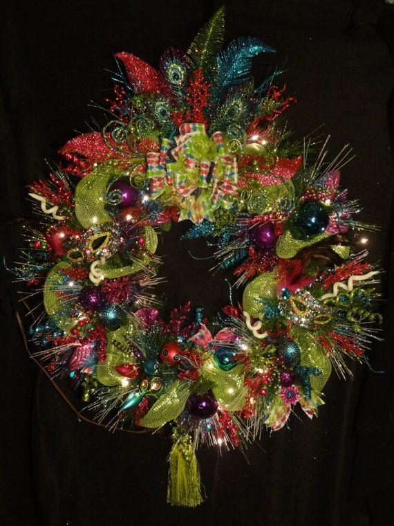 Clearance XL Mardi Gras Wreath,Sale Large Christmas Wreath,Colorful