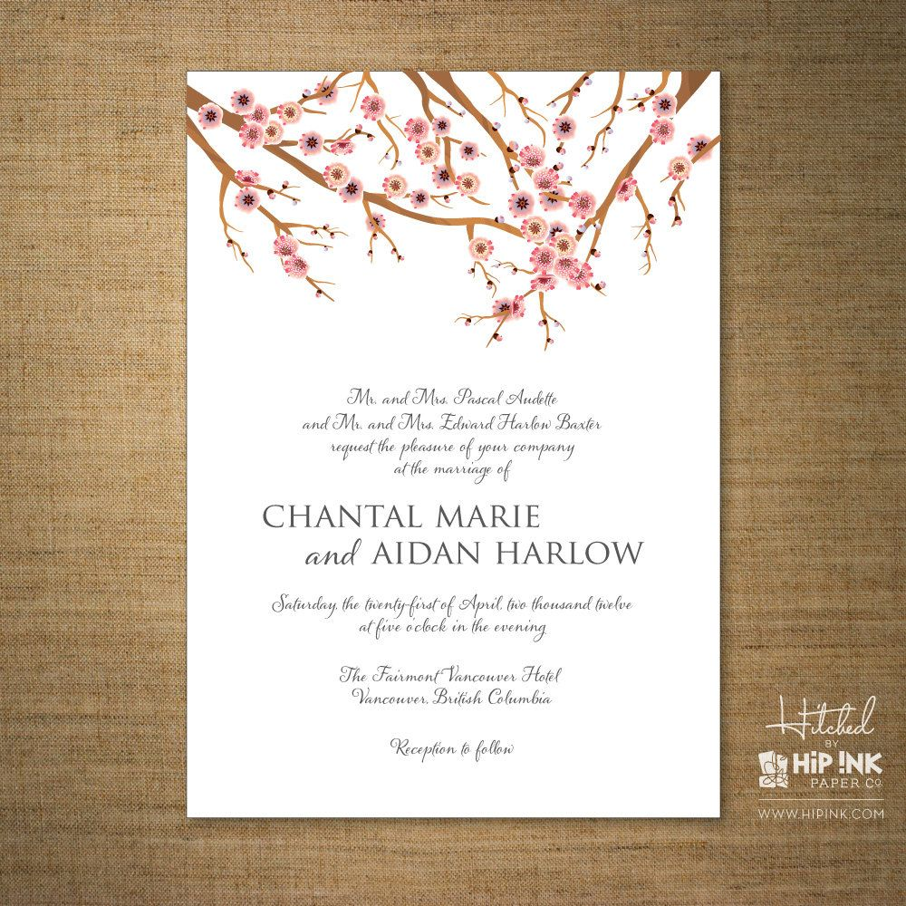 SAKURA - Modern Cherry Blossom Wedding Invitation (SAMPLE). $7,50 ...