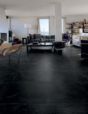 Black Slate Tile Flooring For A Modern And Masculine Look Great For A Bachelor Pad Exp Stone Flooring Living Room Tile Floor Living Room Black Floor Tiles