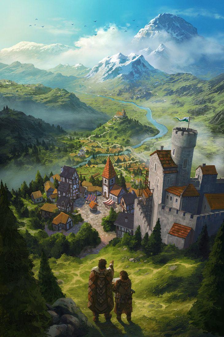 Castle Village farmland Wizard tower conifer forest road