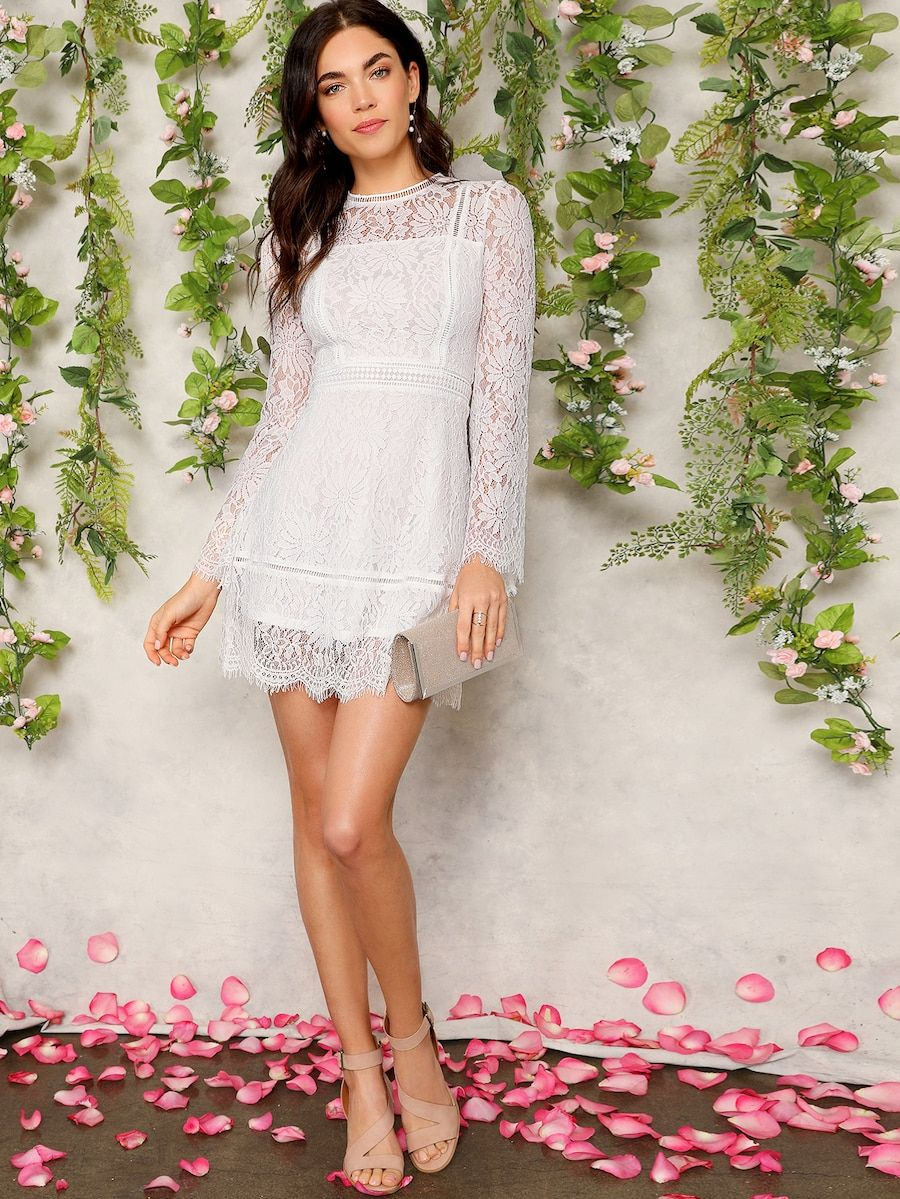 f19e842220c43b Trumpet Sleeve Floral Lace Overlay Dress | SHEIN | PASHMARK~Part of ...
