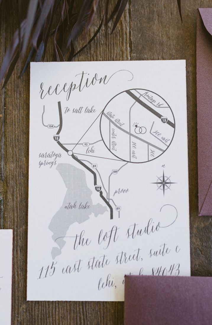 Hand Drawn Wedding Map With Calligraphy Accents And Copper Edge