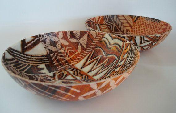 Fiberglass Salad Bowls With Bold Hawaiian Tapa Cloth